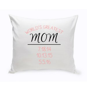 Personalized World's Greatest Mom Theme Throw Pillow with Birthdates