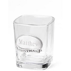 Shot Glass with Personalized Pewter Medallion for the Groom's Wedding Party