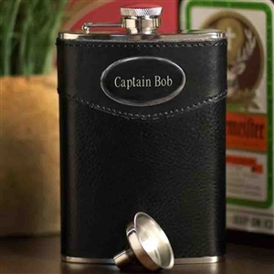 Mens Leather Flask with Personalization - Personalized Flasks Personalized Gifts