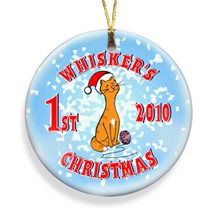 Kitty Merry Christmas Personalized Ornament - Personalized Holiday Ornaments for the cat lover!