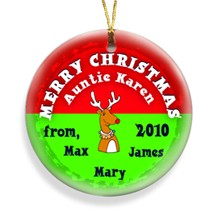 Reindeer Red Merry Christmas Personalized Ornament - Decorate your tree with personalized ornaments!