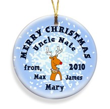 Reindeer Snow Merry Christmas Personalized Ornament - Use these Personalized Holiday Ornaments to decorate packages!