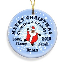 Santa Round Snow Merry Christmas Personalized Ornament