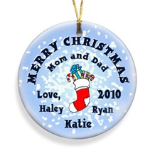 Stocking Snow Merry Christmas Personalized Ornament