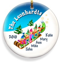 Elves Family Christmas Ornament Personalized - Place the names of your little elves on a family ornament!