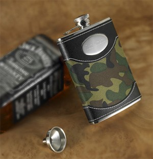 Green Camouflage Flask 8 oz - Personalized