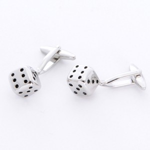 Dice Cufflinks with Personalized Gift Box - Cufflinks to match personalities packed in an elegant personalized chrome box