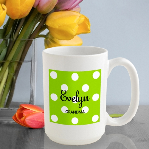 Any woman will love this perky Polka Dot Coffee Mug. Add a splash of color to her morning brew with one of our fun Polka Dots coffee mugs. We offer six different vibrant colors to suit any personality. This heavy duty ceramic mug holds 15 ounces of her f #mug