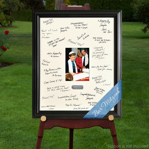 Commemorate their journey into adulthood with this Signature Frame. Celebrate their coming of age with a Celebration Bar or Bat Mitzvah Signature Frame. This frame features space for a 5 x 7 inch photograph surrounded by a photo mat that can be signed by #bar