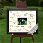 Holds your photo. Works as a guest book.