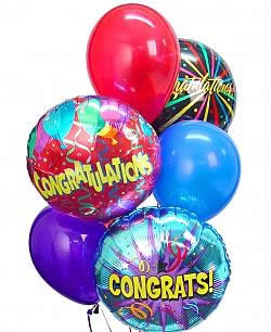 A bright balloon bouquet of a half dozen themed and latex balloons. - Half Dozen Mylar and Latex Balloons - Congratulations