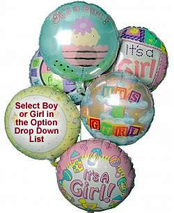 Celebrate any occasion with luminous balloons! - Half Dozen Mylar Balloons - Baby Boy