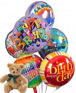 Half Dozen Mylar Balloons and Teddy Birthday