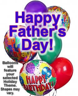 A bright balloon bouquet of a half dozen themed and latex balloons. - Half Dozen Mylar and Latex Balloons - Fathers Day