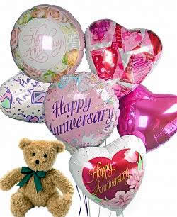 Balloons and a teddy bear, bound to leave a special someone beaming! - Half Dozen Mylar Balloons and Teddy - Anniversary
