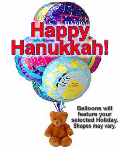 Balloons and a teddy bear, are sure to make the day! - Half Dozen Mylar Balloons and Teddy - Hanukkah