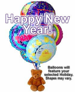 Half Dozen Mylar Balloons and Teddy New