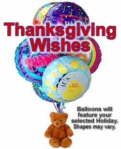 Thanksgiving Balloon and Teddy Bouquet