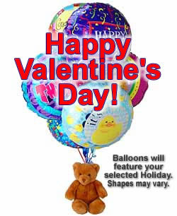 Balloons and a teddy bear, bound to leave a special someone beaming! - Half Dozen Mylar Balloons and Teddy - Valentines Day