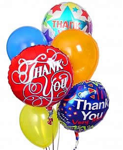 A bright balloon bouquet of a half dozen themed and latex balloons. - Half Dozen Mylar and Latex Balloons - Thank You