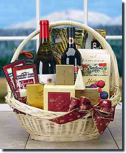 A classic basket of fine wine and gourmet foods. - Premium Wine and Gourmet Basket - Two Bottles of White Wine