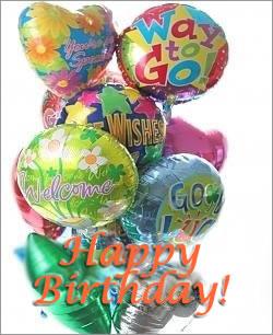 Birthday Balloons - Dozen Mylar Balloon Bouquet