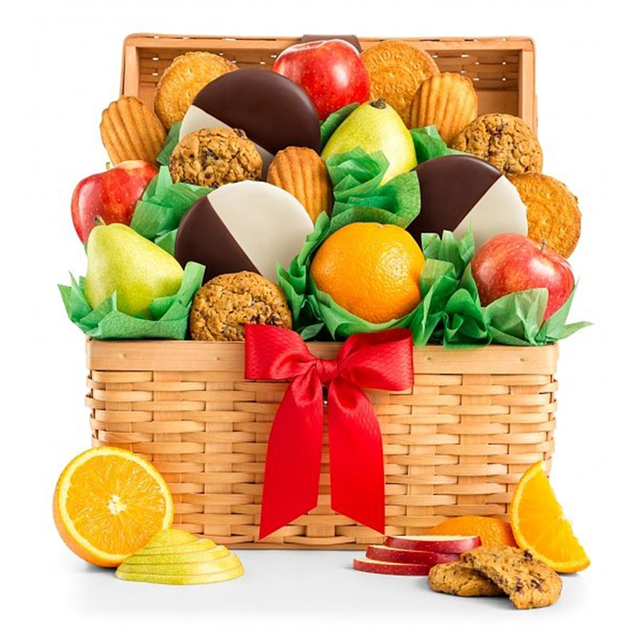 Delight them with the sweet gift of fresh fruit and decadent cookies. Our Sweet Indulgence Gift Basket combines the comfort of fresh baked cookies, the deliciousness of mouth watering seasonal fruits and the indulgence of rich chocolate, to create the pe #gift