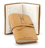 Leather Bound Golf Log Personalized with up to 15 characters.