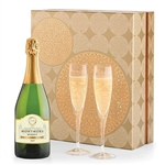 Dom Perignon Champagne and Crystal Flutes Gift Set