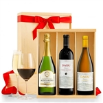 Three red wines hand selected by an experienced sommelier, presented in a beautiful wood crate.