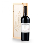 Chardonnay Wine in a Personalized Happy Birthday Wooden Crate