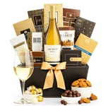 Gourmet Gift Basket with a Bottle of Chardonnay from California