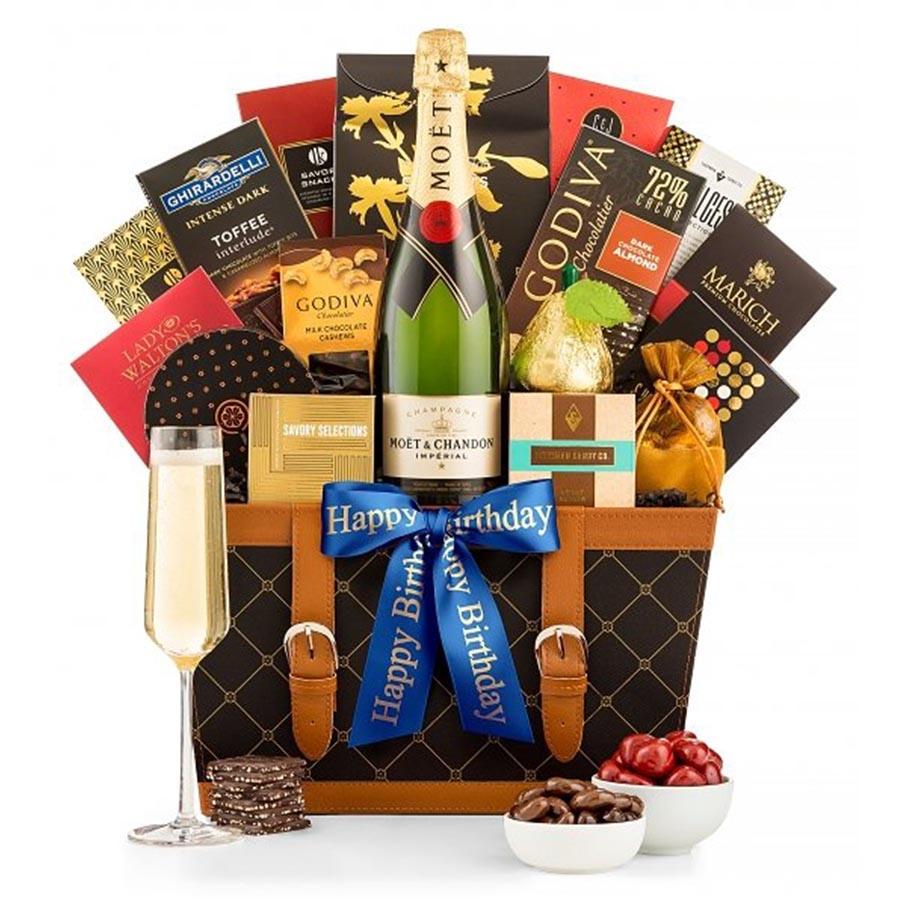 Basket Of Happy Birthday Champagne