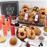 An extra large gift basket with kosher TABLET-K certified baked goods and two splits of La Marca Prosecco for a decadent champagne breakfast in bed day.