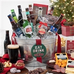 9 Microbrew Beers in a galvanized tin bucket decorated for Christmas