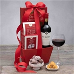 Basket with Cabernet Sauvignon and Valentines treats