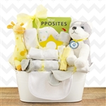 A metal tin basket loaded with all the necessities for the new baby!