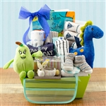 Lovely basket with items to pamper the new baby boy.