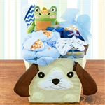 Collapsible animal storage cube full of clothing items for baby boy.