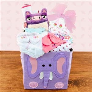Collapsible animal storage cube full of clothing items for baby girl.