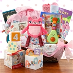 A grand basket has everything for baby and some special treats for the new parents.
