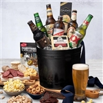 6 Microbrew Beers and snacks in a Galvanized Bucket with Happy Father's Day Greeting