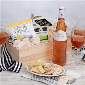 Happy Birthday Banner in a Rose Wine and Gourmet Treats Gift Crate