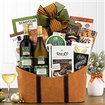 An extra large basket of gourmet goodies with a bottle of Cabernet and a bottle of Chardonnay