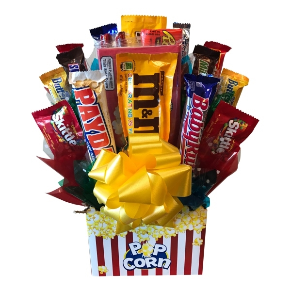 Movie Night Bouquet With Drinks: Movie Night Candy Bouquet