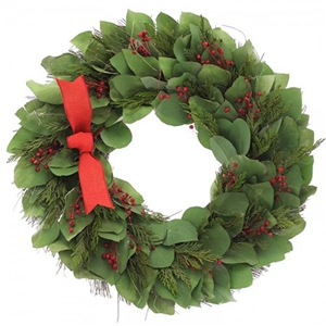 The Eucalyptus Cedar Wreath is made on a base of silver dollar eucalyptus and preserved cedar with simple adornments of red flax and a red bow. Made of all natural materials dried or preserved to ensure a long lasting gift.