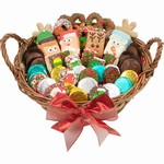 A 12 inch willow basket filled with fresh baked treats dipped in Belgian chocolates