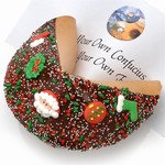 Giant Christmas Fortune Cookie includes your message inside as a 1 ft long fortune. Giant Fortune Cookie is dipped in your choice of chocolate, caramel or peanut butter.