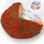 Giant Fortune Cookie decorated with holly berry confections and dip of your choice. Includes your message inside as a 1 ft long fortune.