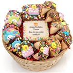 Personalized Cookie Gift Basket - This gift features popular gourmet goodies with your custom message.